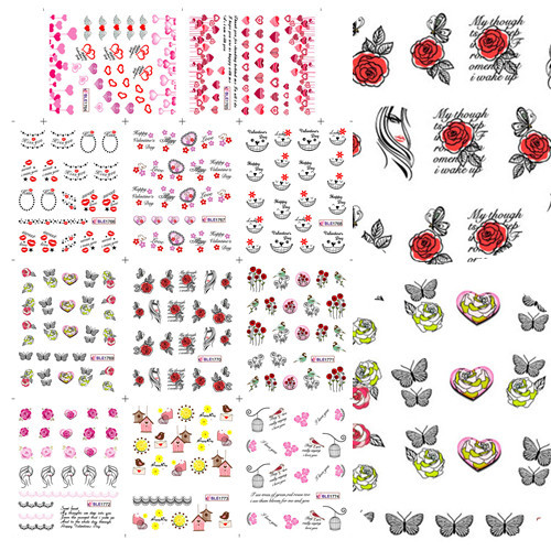 11 Designs Beauty Sweet Love Flower Bow Water Transfer Nail Sticker DIY Tips Decal Decoration Manicure Tools #BLE1764-1774(China (Mainland))