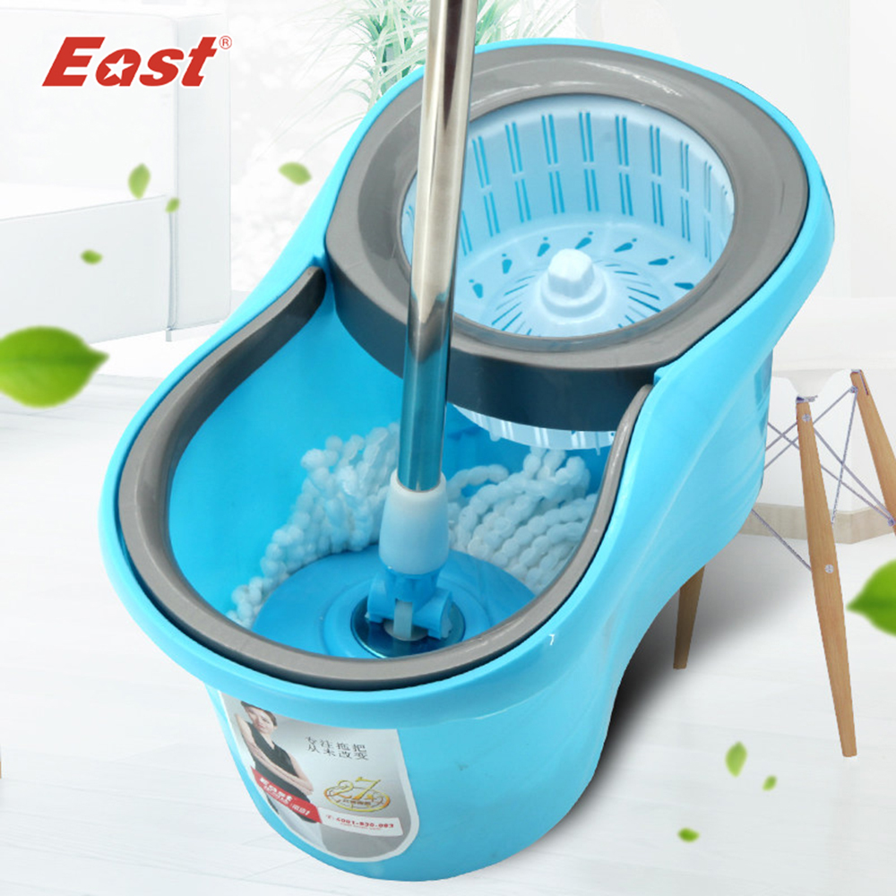 EAST High Quality New Magic Spin Mop Movable Bucket No Foot Pedal Rotate 360 Degree Hand Pressure Spin Mop for Floor Cleaning(China (Mainland))