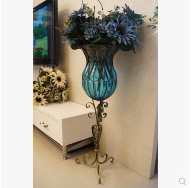 Jane S Wrought Iron Glass Vase Large Living Room Table Flower Vases Flower Implement Home