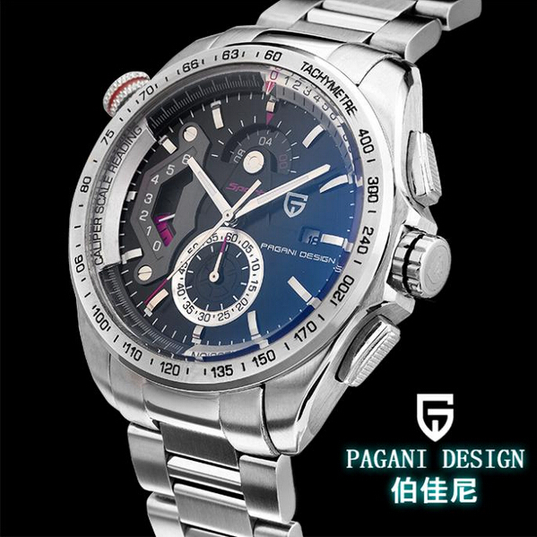 Pagani Design men's gifts quartz watch men watches CHRONO sports stopwatch steel male table with original box (CX-2492A)(China (Mainland))