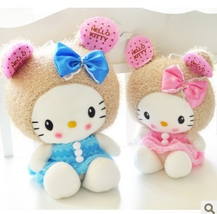 Free ship children/kid/baby pp cotton Stuffed Toy birthday gift doll plush toys blue hello kitty 48cm(China (Mainland))