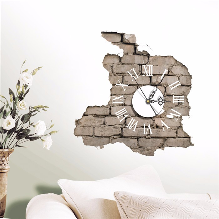 NEW PAG STICKER 3D Wall Clock Decals Breaking Cracking Wall Sticker Home Wall Decor Gift(China (Mainland))