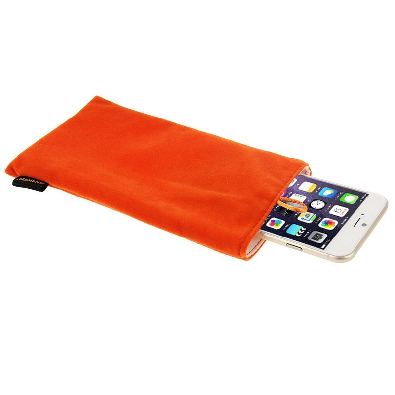 New For iPhone 6 Plus / 5.5 inch Mobile Phone Universal Soft Flannel Pouch Bag with Pearl Button , Size: 18.5cm x 9cm(China (Mainland))