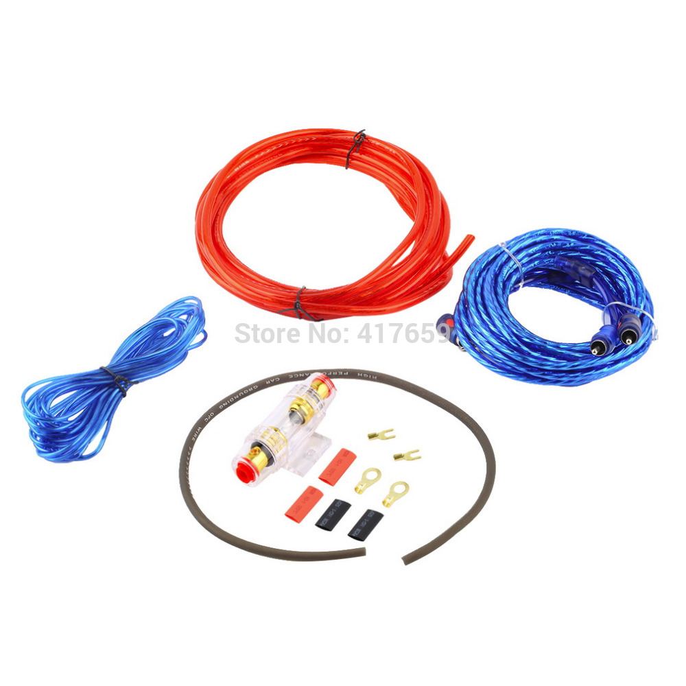 1500W Car Audio Wire Wiring Amplifier Subwoofer Speaker Installation Kit 8GA Power Cable 60 AMP Fuse Holder Free Shipping~(China (Mainland))