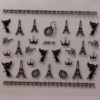 24 Designs Nail Stickers Decals Lips Anchor Skull Michael Jackson Eiffel Tower Crown  New 2013
