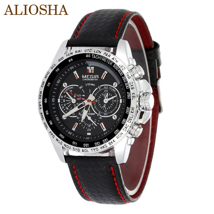 ALIOSHA MEGIR Leather Strap Analog Date Men's Quartz Watch Casual Military Watch Discount Watches Shop Watches Online(China (Mainland))