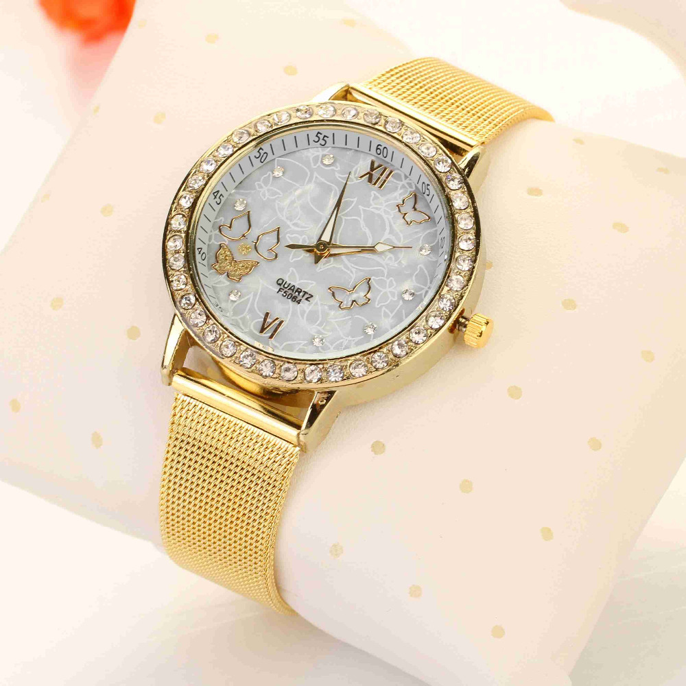 2015 Golden Face Luxury Style Man Watch Quartz Wrist Watch Butterfly Watches Mens Watches Top Brand