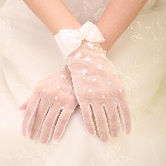 Кот кружева бусины наручные длина свадебные перчатки палец свадебные аксессуары Tousha ...