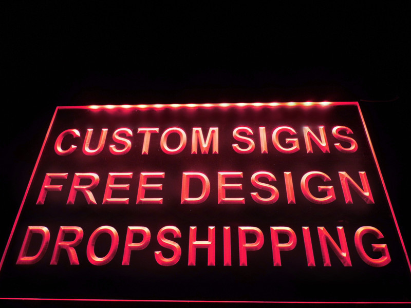 Custom writing signs in lighted
