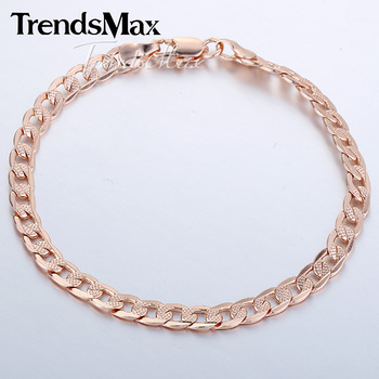 5mm 20.3cm Cut Hammered Flat Curb Mens Boys Chain Bracelet Rose Gold Filled Bracelet Wholesale gift GB251