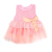 2016 Cute Baby Girls Sleeveless Lace Crochet Princess Dress Kids With Bow Belt Party Dress