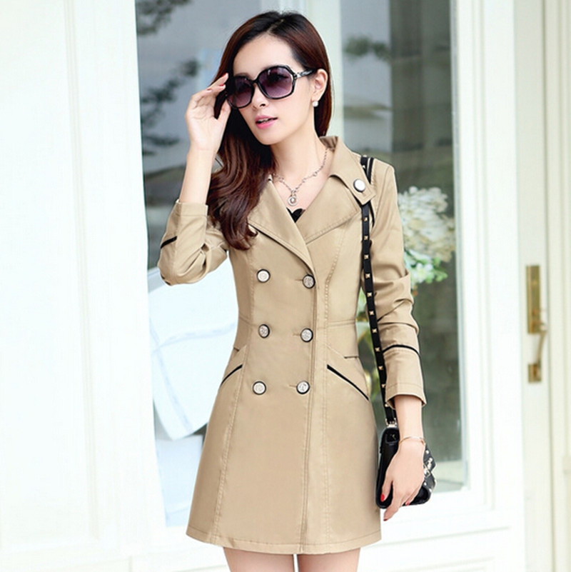 2015 spring coat New trench coat women medium-long outerwear slim women's double breasted trench h10303(China (Mainland))