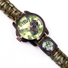 1pc Multicam Outdoor camping Travel Kit Watch With survival Flint Fire starter paracord Compass rescue Whistle rope