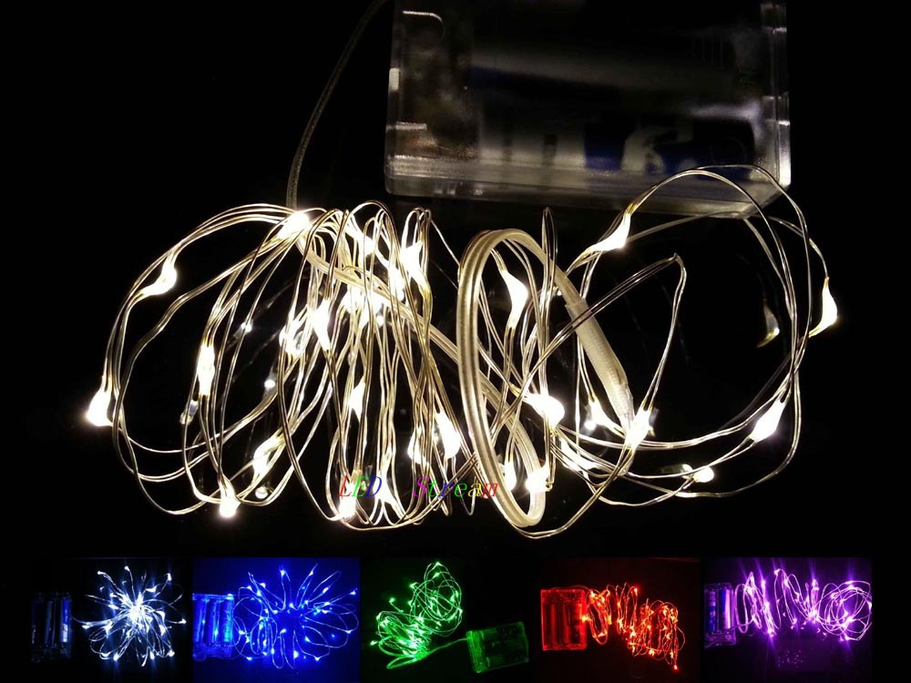 Mini String Lights On Wire : 10 Colors Battery Powered 2M 20 led Mini LED Decorative Silver Wire String Fairy Lights lamp for ...