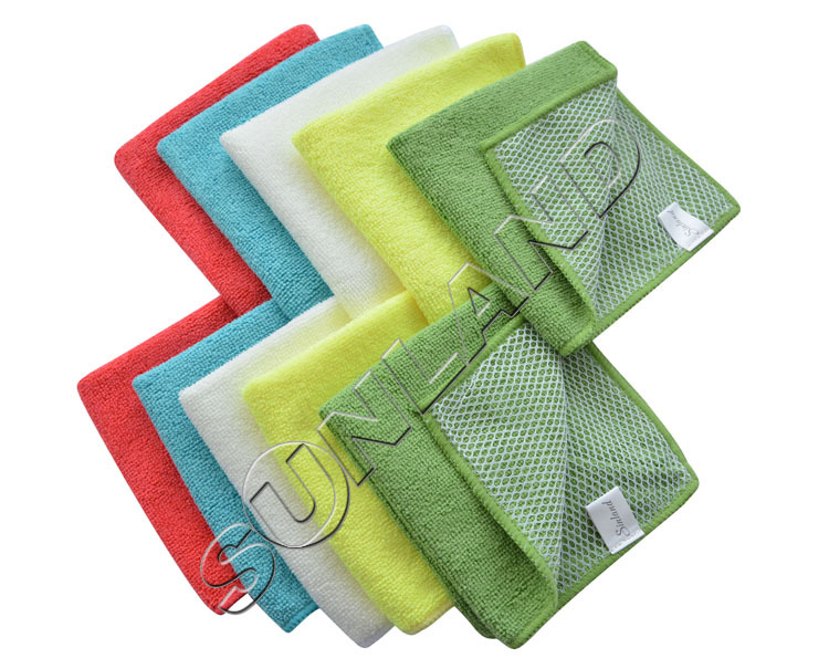 Sunland 5pcs Microfiber 12 by 12-Inch Kitchen Dish Cloth With Poly Scour Side Kitchen Dish Towels Cleaning Rag - Assorted Color(China (Mainland))