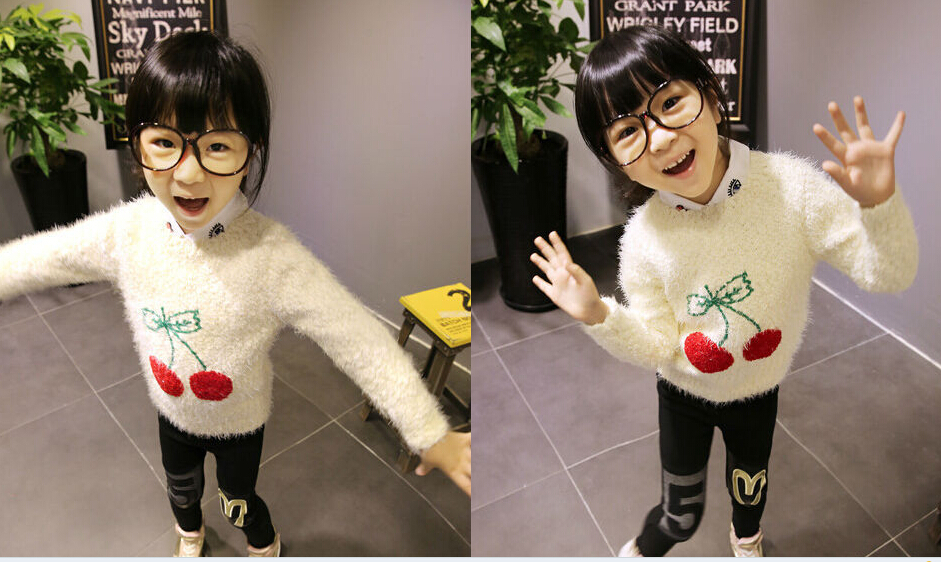2014 New Cherry Girls Sweaters White Color Children Sweater Knitted Pullovers