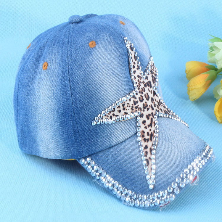 2015 New Sale Baseball Caps Bling Full Drill Korean Leopard Starfish for Peaked Cap / Star Baseball Casual Hip-hop Sunshade(China (Mainland))