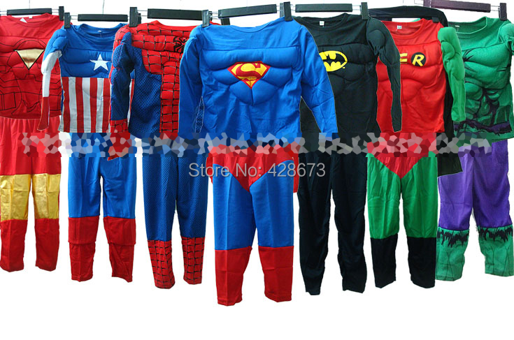 Free Shipping Full Bodysuits Captain America Superman Iron Man Hulk Robin Muscle Cosplay Costume For Children Kids Super Hero(China (Mainland))