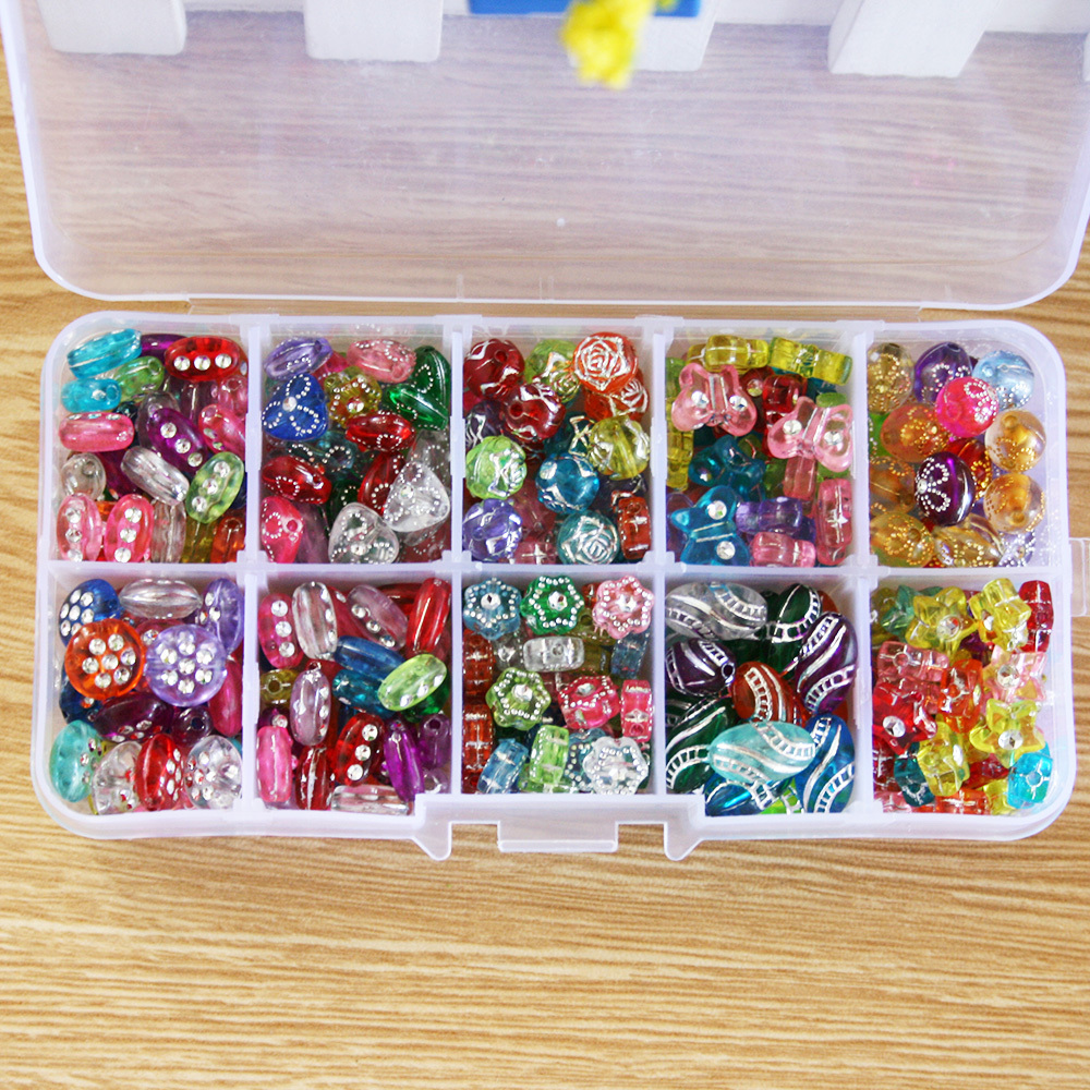 10Slot Hot DIY Bracelet Acrylic loom bands Bead set Accessories Girl Toys Mixed Kids Beads with Box, Beads for Children(China (Mainland))