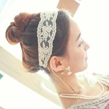 10pcs/lot women girl's vintage lace headband classic flower headwear Elastic Head Band Hair Accessories Headwraps