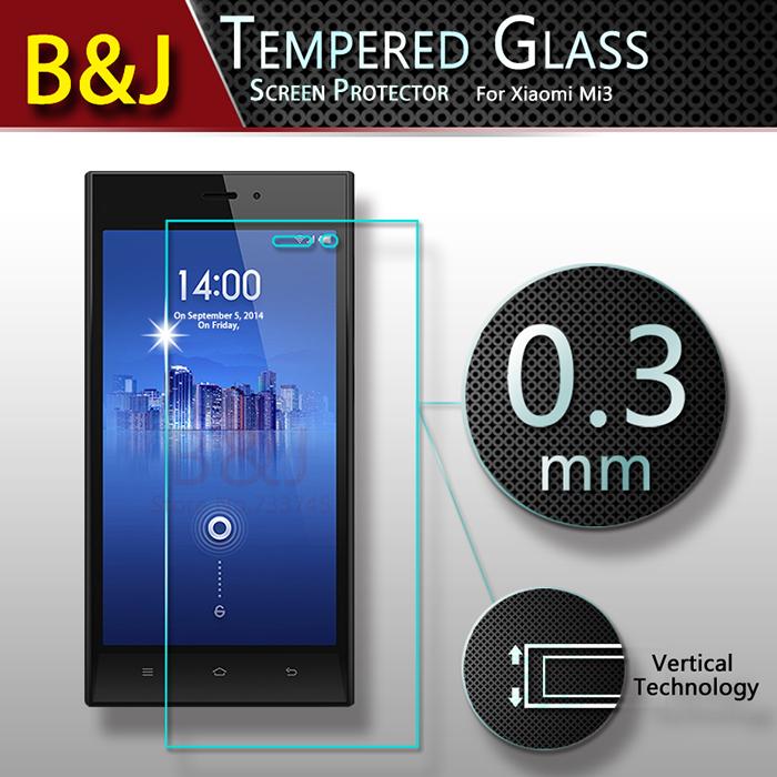 Original Anti-Explosion Protective Phone Film Xiaomi 3 Mi3 M3 Screen Protector Tempered Glass 2014 Brand New - Guangzhou B&J Trading Co., Ltd. store