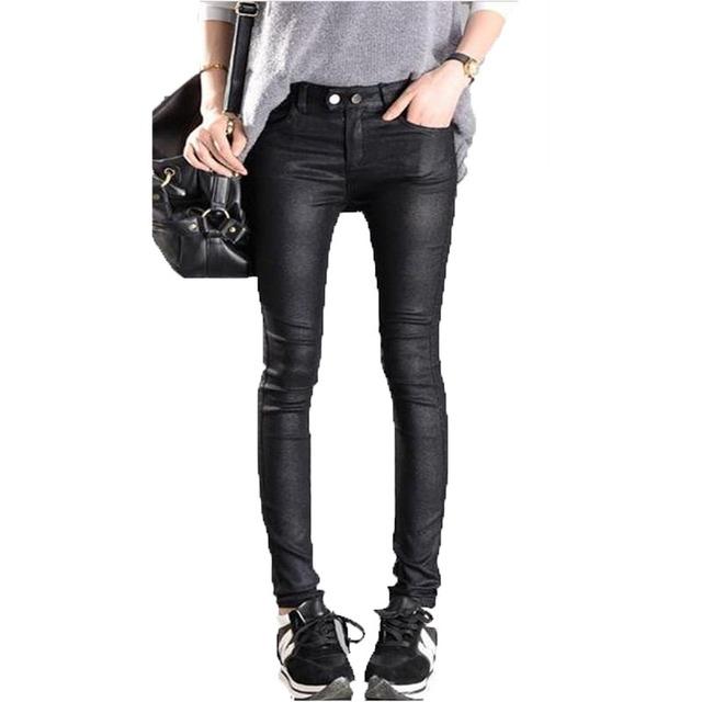 Прямая поставка! Европа америка большой размер черные брюки пу кожаные штаны карандаш ...
