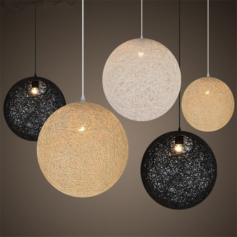 Здесь можно купить  Dia15cm Small Ball Globe Vine Hemp Round Dining Light Nordic Modern Kitchen Pendant Lamp Designer Rustic,12Colors Choice PLL-745  Свет и освещение