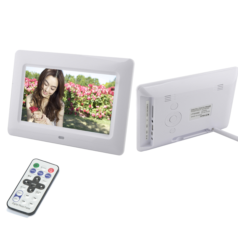 Brand New 7 inch White Digital Photo Frame with SD/MMC USB port Built-in Analog Clock Free Shipping<br><br>Aliexpress