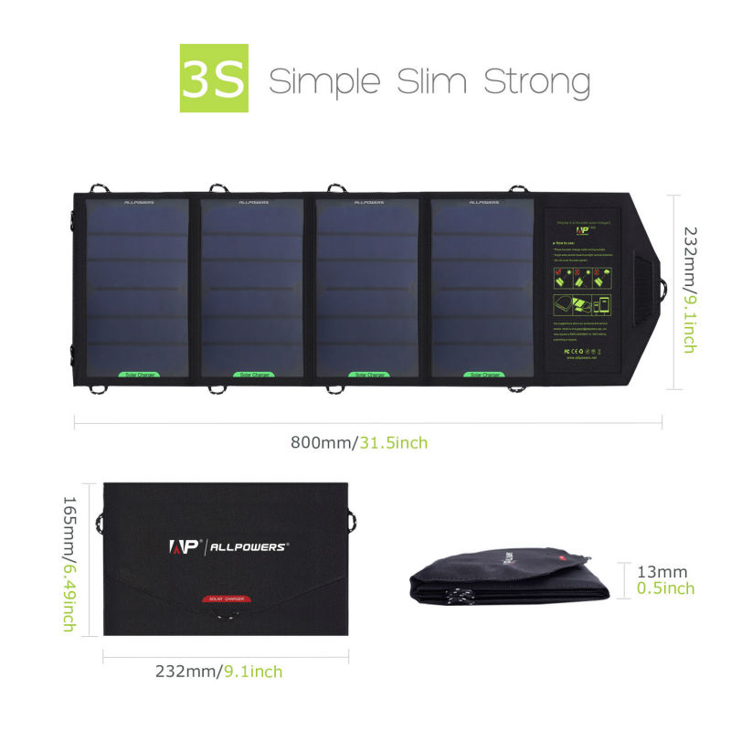ALLPOWERS 18W 5V Solar Charger for iPhone iPad Samsung Phones and Power Banks, Dual USB Output Fast Charging Solar Charger.