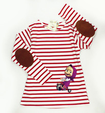 Cartoon Masha And Bear Girls T-shirts Long Sleeve Striped T shirt For Girls Spring Clothing