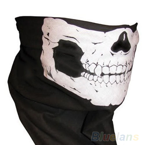 Skull Bandana Bike Motorcycle Helmet Neck Face Mask Paintball Ski Sport Headband 04ED(China (Mainland))