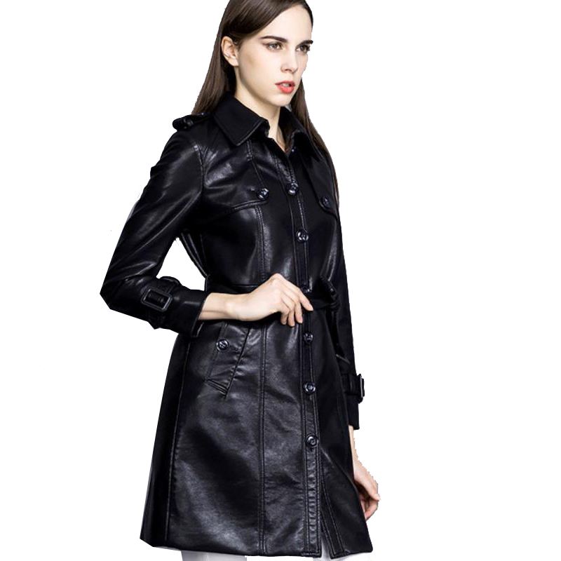 Leather Jacket Women Jaqueta De Couro Feminina Plus Size Trench Coat PU Leather Women's Long Korean Jacket With Belt Badges