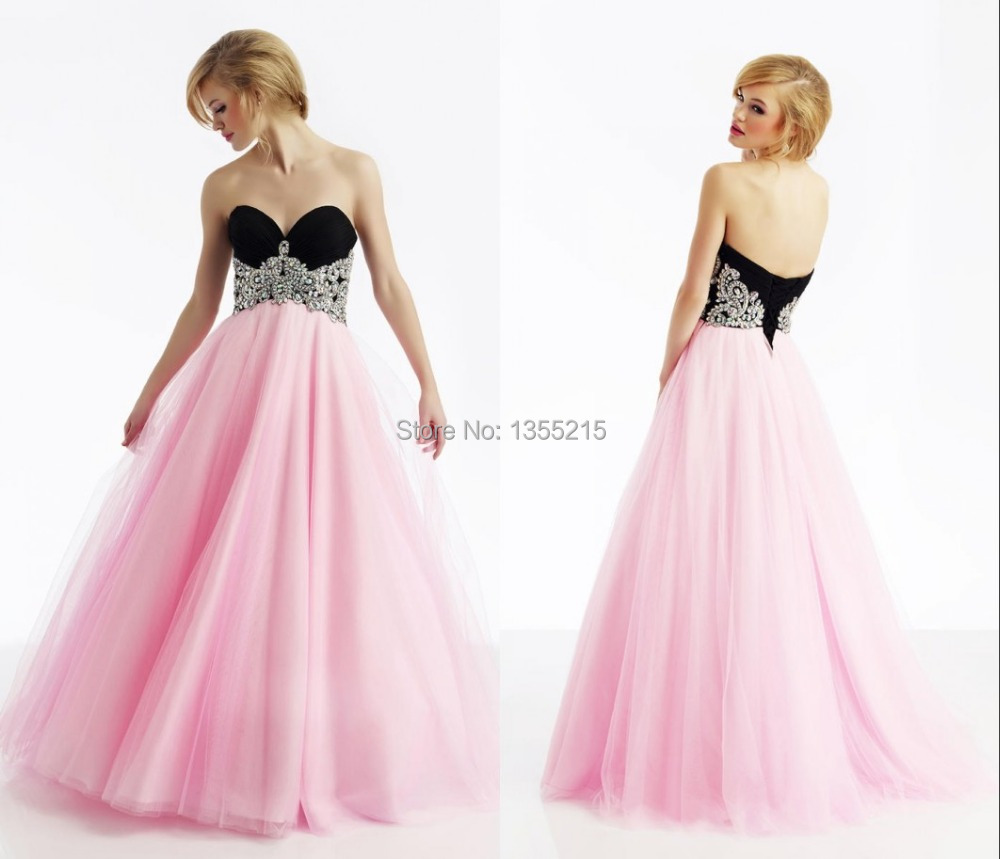 Black and Pink Puffy Prom Dresses