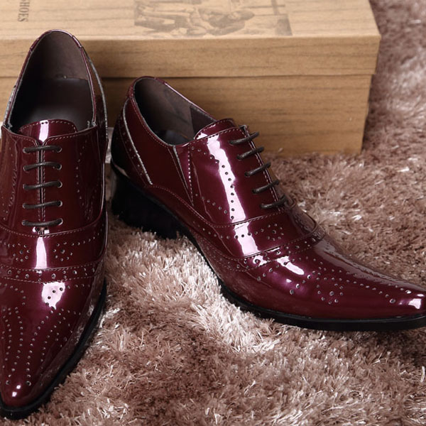 2015 Mens brand Pointed toe Shoes, Lace-Up Flat Oxfords shoes, patent leather Business Shoes Dress Men,size 37-44