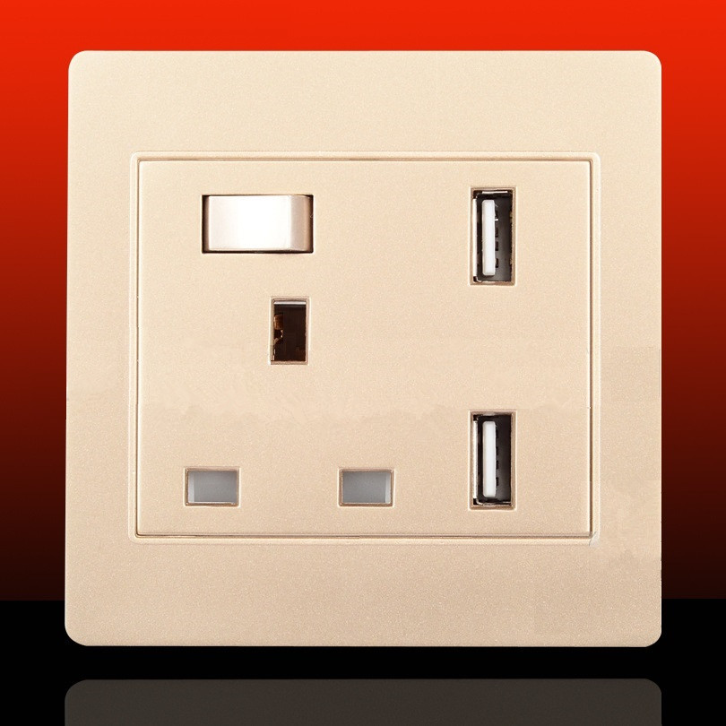 13A AC 110V-240V UK Standard Plug Socket Outlet Panel With Dual 2.1A USB Ports Wall Power Charger Adapter YB391-SZ+<br><br>Aliexpress