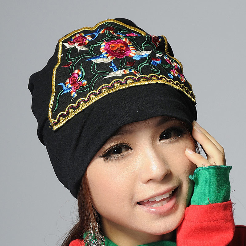 Classic ladies ethnic embroidered cotton beanie hat special design traditional Chinese knitted beanie hats(China (Mainland))