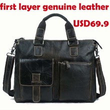 Hot Sale New men briefcases 2014 brand black travel briefcase mens laptop leather bag designer men messenger bags(China (Mainland))
