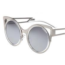 Metal sunglasses Luxury retro women s Colorful film Cat ears New 2015 fashion vintage Big