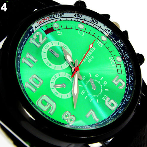 New 6 Color Military Aviator Army Style Silincon Men Outdoor Sport Watch 5UXD