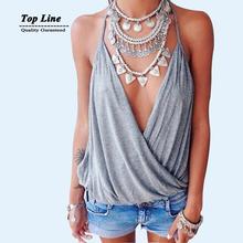 2015 New Summer Style  Sleeveless Deep V Neck Halter Tops Sexy Women's T Shirt Grey Fitness Women T Shirt(China (Mainland))