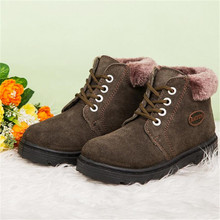 In the winter of 2016 Children's cotton shoes The new leather Add wool warm Han edition of fashion snow boots Children's shoes(China (Mainland))