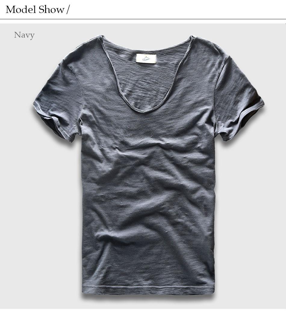 HTB1l1A6PXXXXXXXXpXXq6xXFXXXu - Men Basic T-Shirt Solid Cotton V Neck Slim Fit Male Fashion T Shirts Short Sleeve Top Tees 2017 Brand
