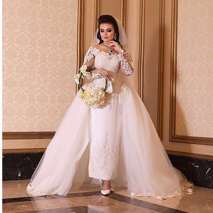 Online buy wholesale ankle length wedding dresses from for Ankle length wedding dress with sleeves
