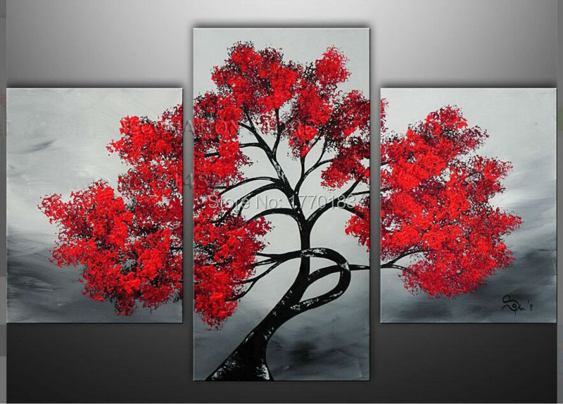 Handmade modern abstract red tree landscape oil painting for 3 panel painting