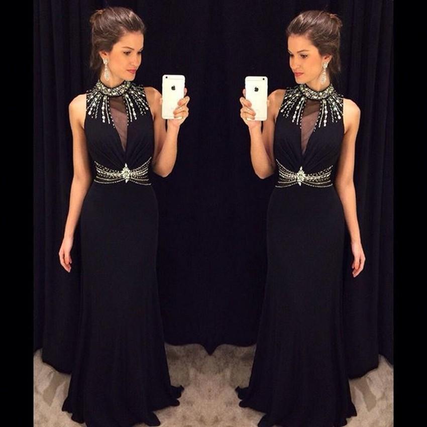 Черный высокая шея рукавов русалка длиной до пола шифоновое платье с бисером украшение