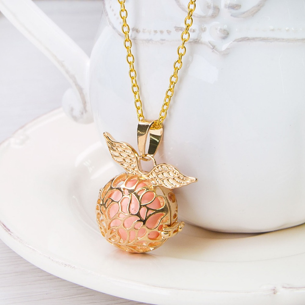 Pregnancy Baby Wish Box angle wing European Style Pendants golden with pink sounding beads Fashion Necklace 61cm,1 Piece(China (Mainland))