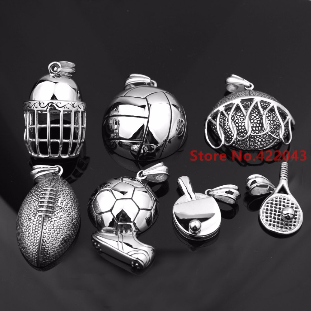 Charming Olympic Silver Pingpong/Basketball/Football/Volleyball/Helemt/Tennis Ball Sports Men's Stainless Steel PendantNecklace(China (Mainland))