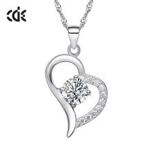 CDE عقد دلاية نسائية المجوهرات 925 الاسترليني مكعب زركونيا فضي القلب الأزياء قلادة رومانسية عيد الحب هدية(China)