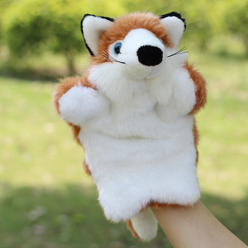 Plush baby toys 0-12 months 2015 family finger puppets cloth doll baby educational fantoches brinquedos Animal Hand Glove 25 cm(China (Mainland))