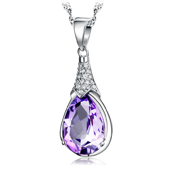 AAA 100% Silver 925 Necklace Wish Stone Amethyst Water Drop Sterling Silver Necklaces & Pendants FREE SHIPPING